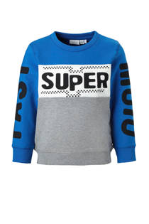 name it MINI sweater Tasuper met tekst blauw/grijs (jongens)