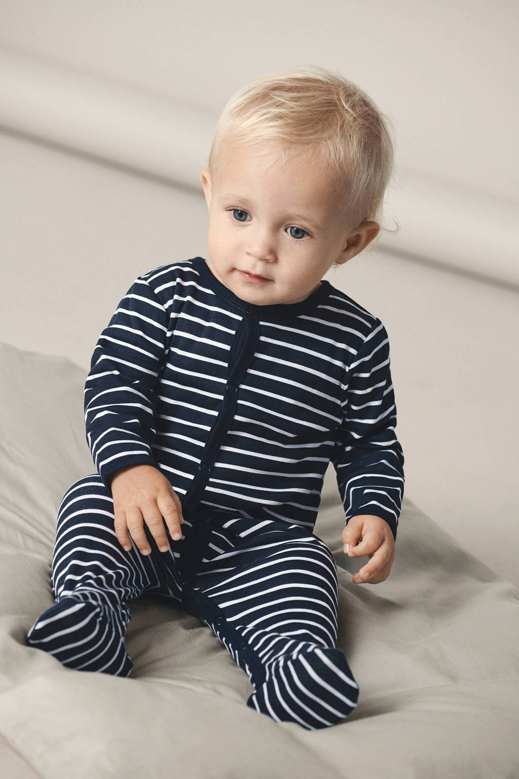 NAME IT BABY   newborn baby pyjama - set van 2, Donkerblauw/wit