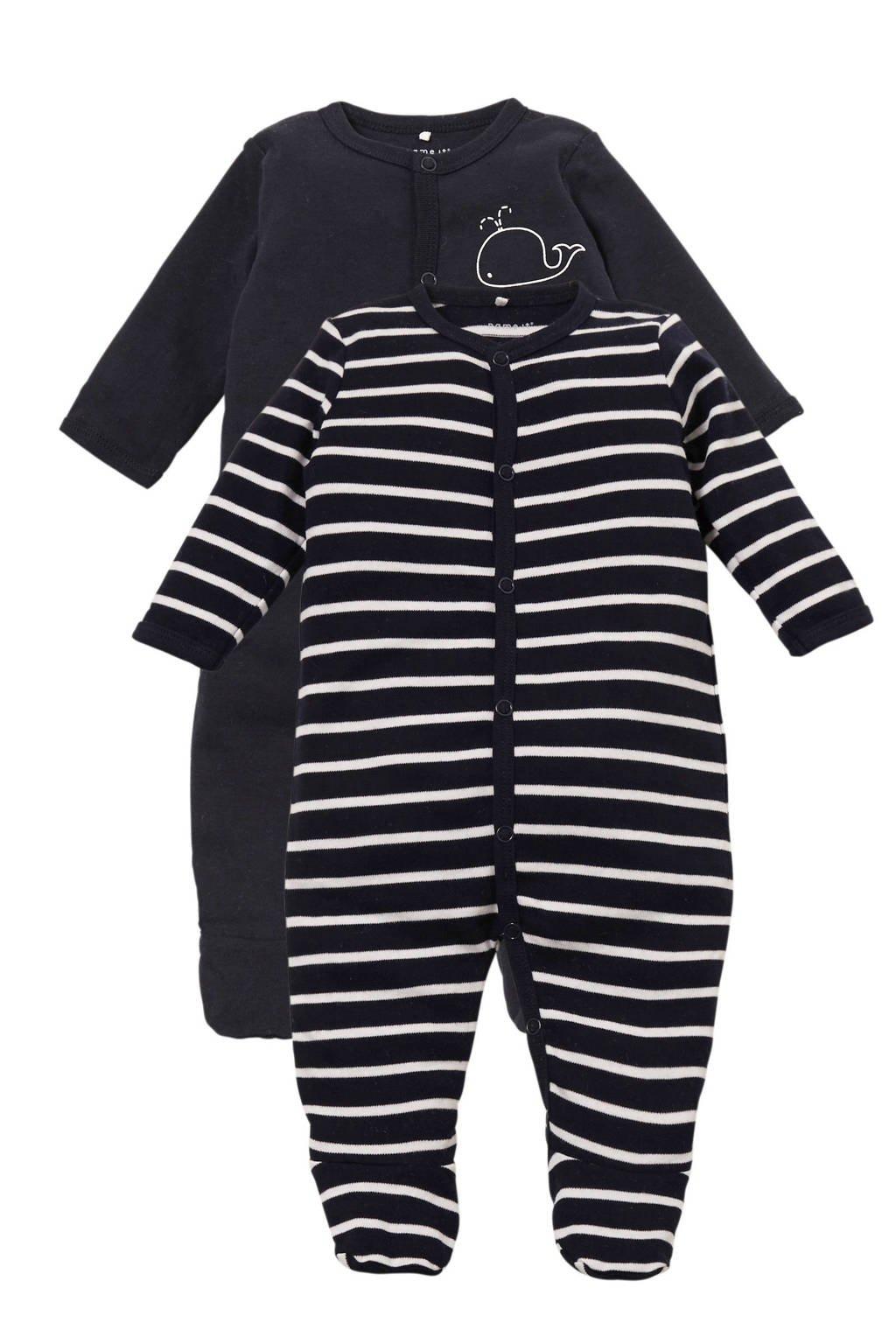 name it BABY   newborn gestreepte pyjama - set van 2, Donkerblauw/wit