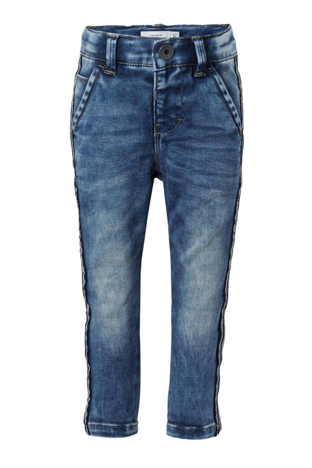 name it MINI slim fit jeans Silas met zijstreep, Stonewashed