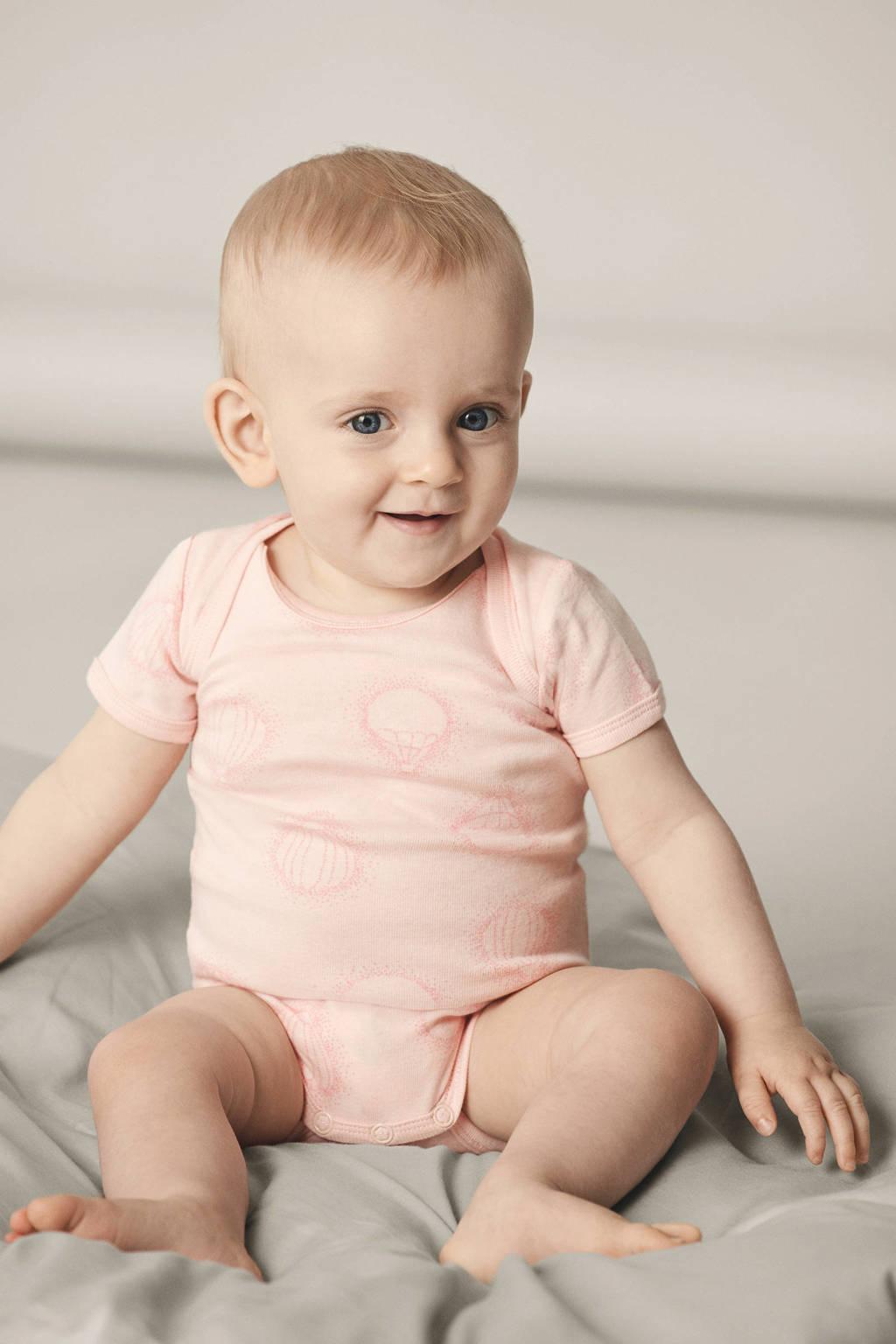 NAME IT BABY newborn baby romper - set van 3, Roze/lichtroze/wit