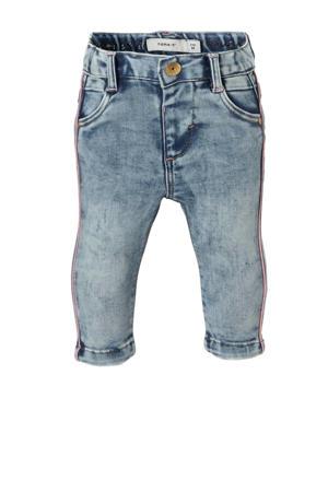BABY baby slim fit jeans met zijstreep light denim