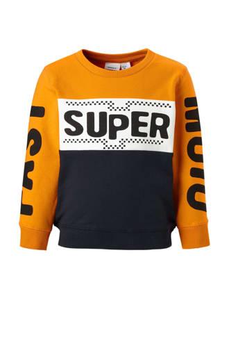 MINI sweater Tasuper met tekst oranje/blauw