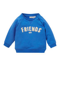 name it BABY newborn sweater Taboy met tekst blauw (jongens)