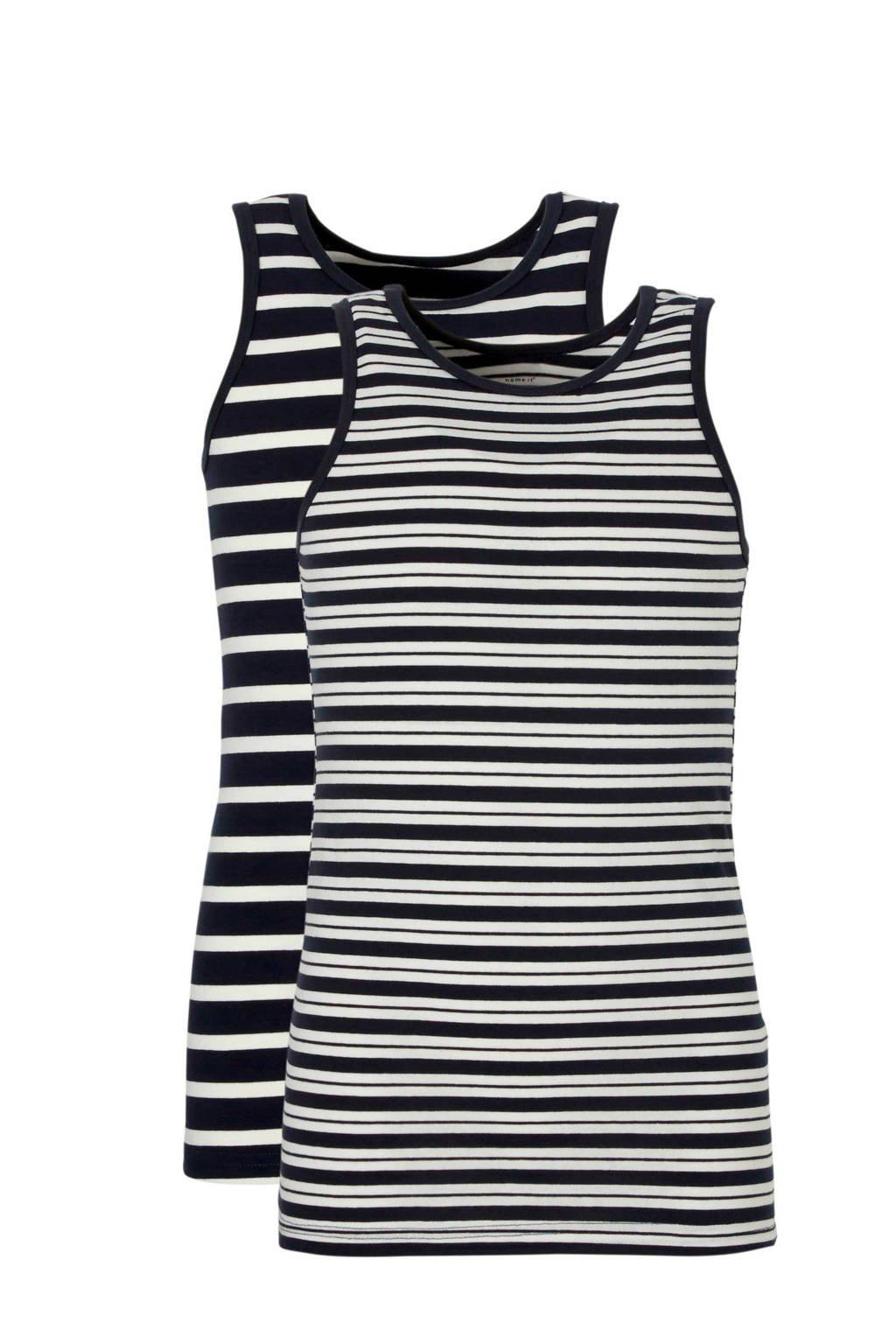 name it MINI hemd ( set van 2 ) met strepen, Donkerblauw/ off White