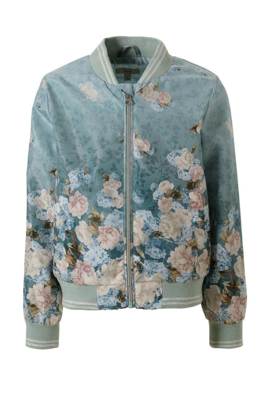 name it bomberjack met bloemenprint, Grijsblauw