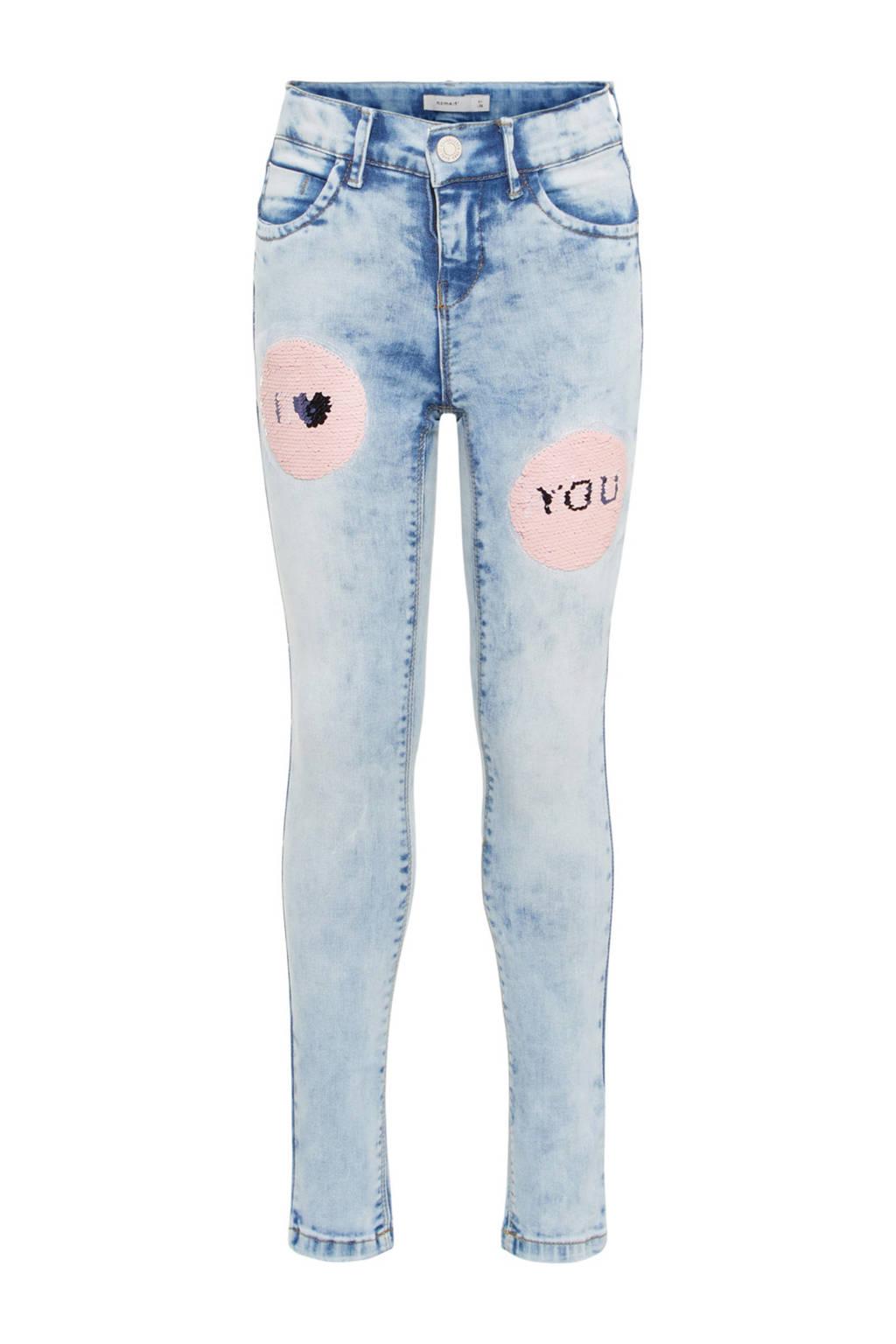 name it skinny jeans Polly met pailletten, Light denim