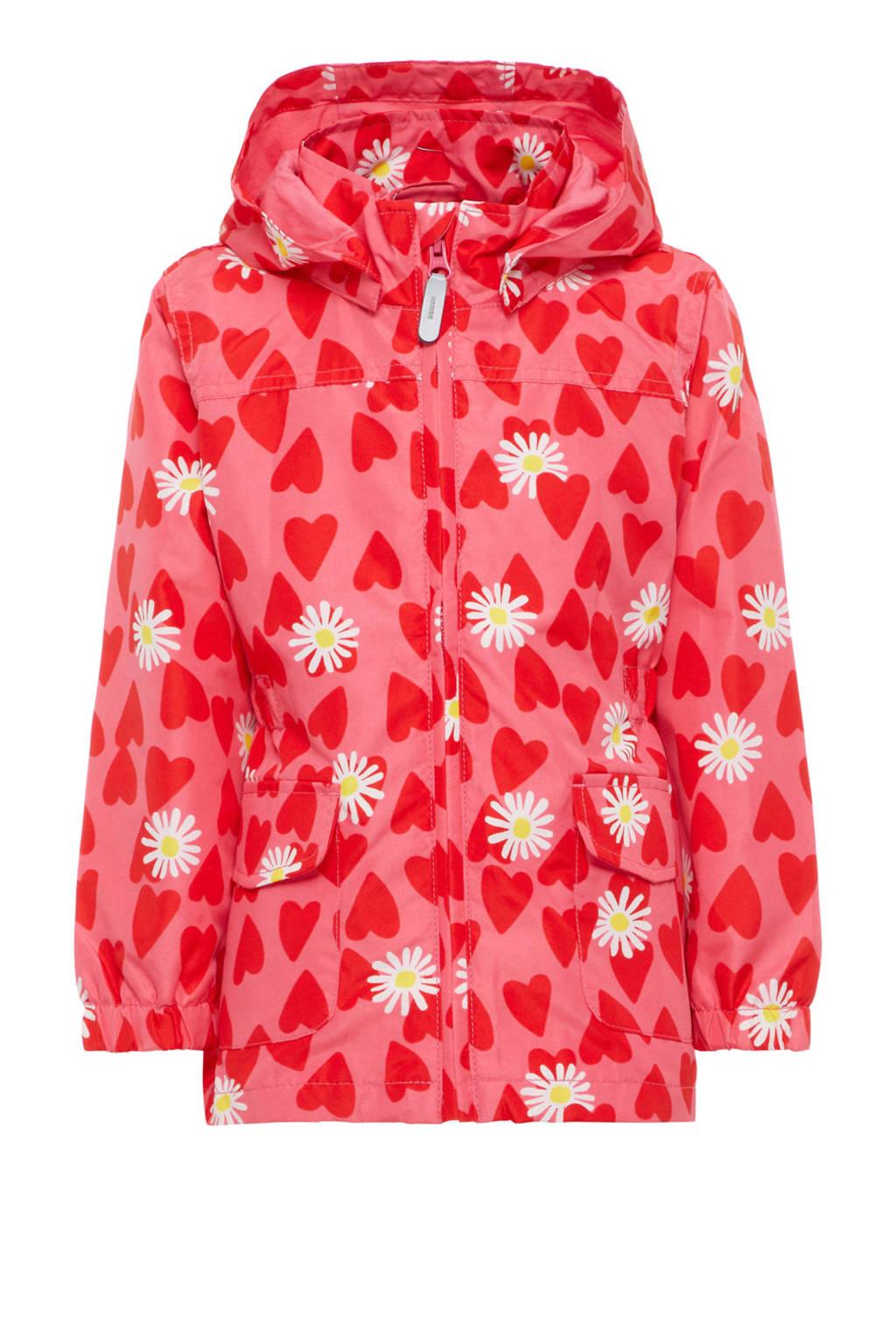 name it MINI gebloemde zomerjas Mello met hartjes roze, Roze/rood