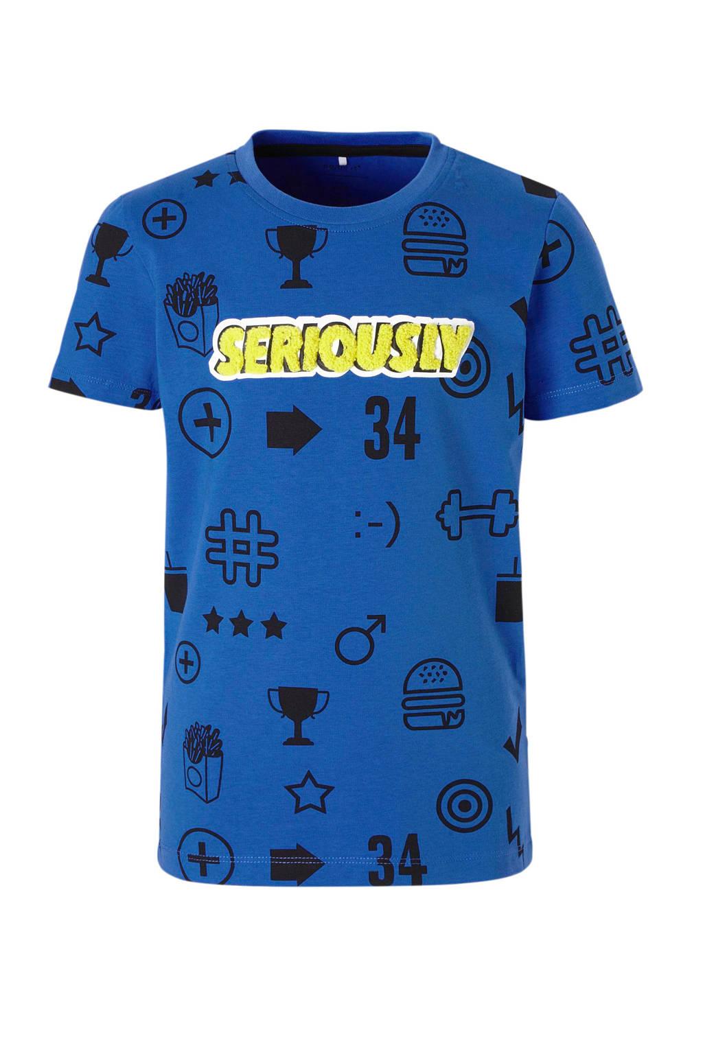 name it KIDS T-shirt Dixon met all over print blauw, Blauw