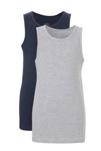 NAME IT hemd ( set van 2 ), Donkerblauw/ grijs melange