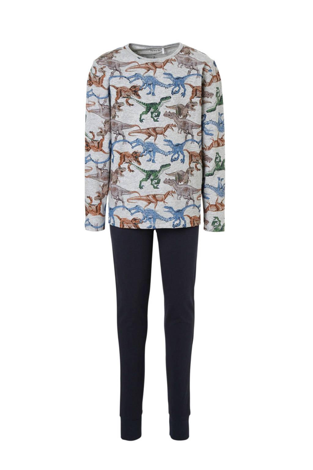 name it   pyjama met dino's grijs, Grijs/donkerblauw