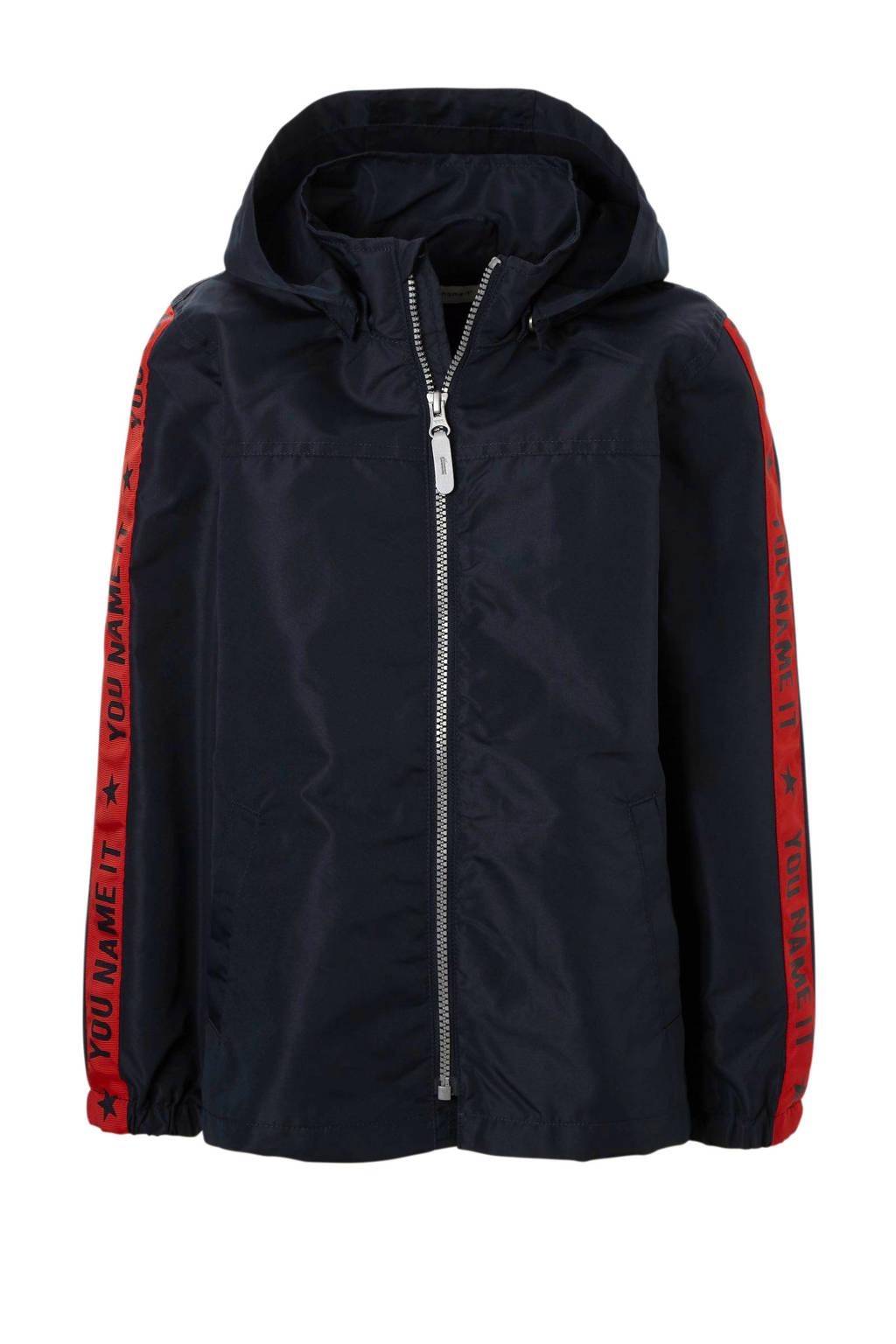 name it KIDS jas Mellon met taping, Donkerblauw/ rood