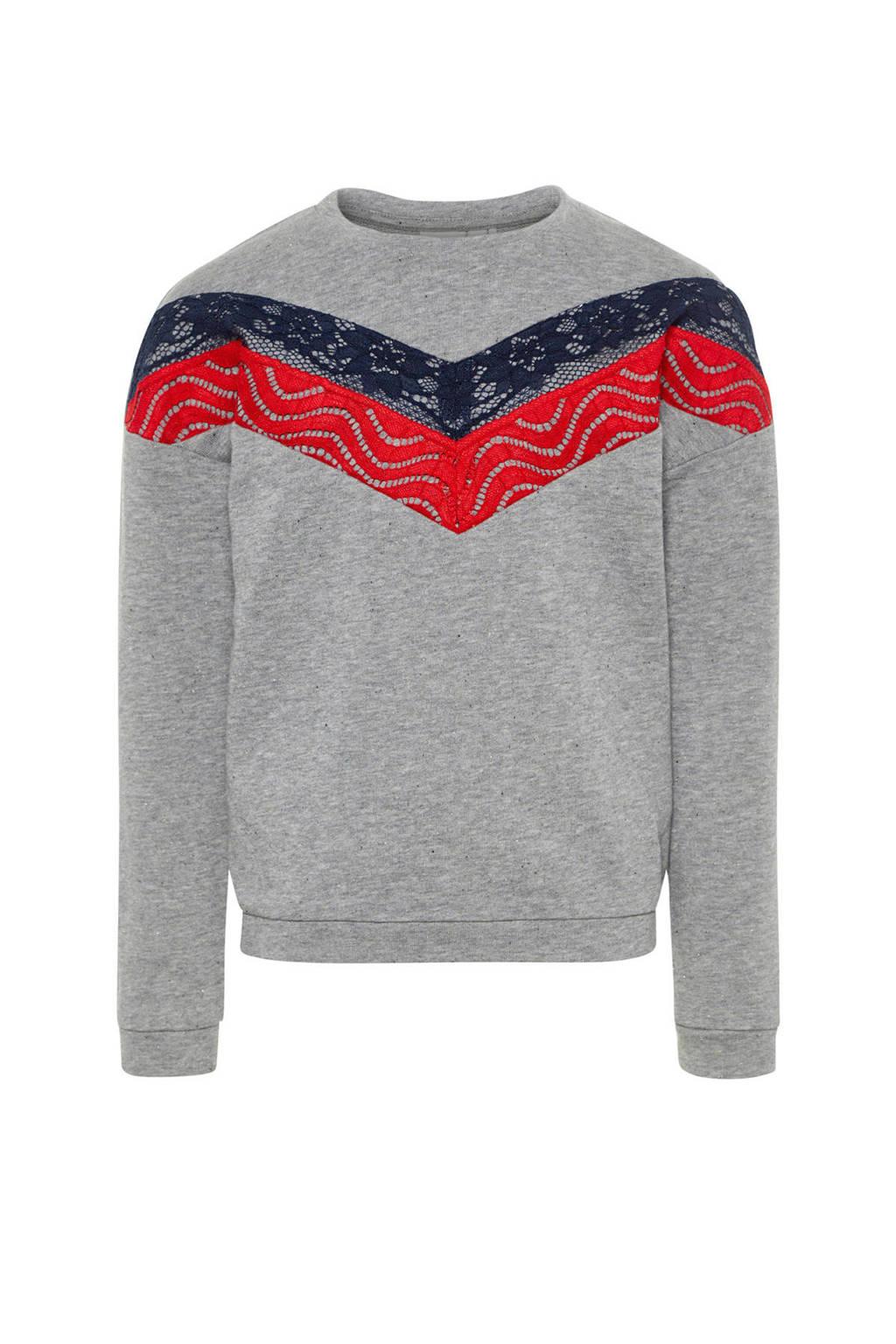 name it sweater Bia met kant grijs, Grijs/blauw/rood