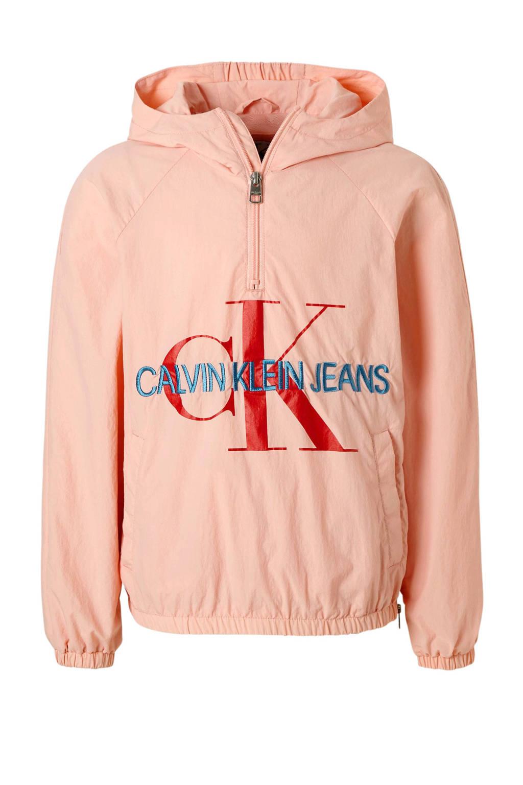 Calvin Klein Jeans anorak met logo zalmroze, Zalmroze