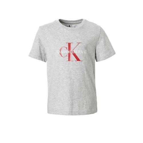 Calvin Klein Jeans T-shirt met logo grijs melange kopen