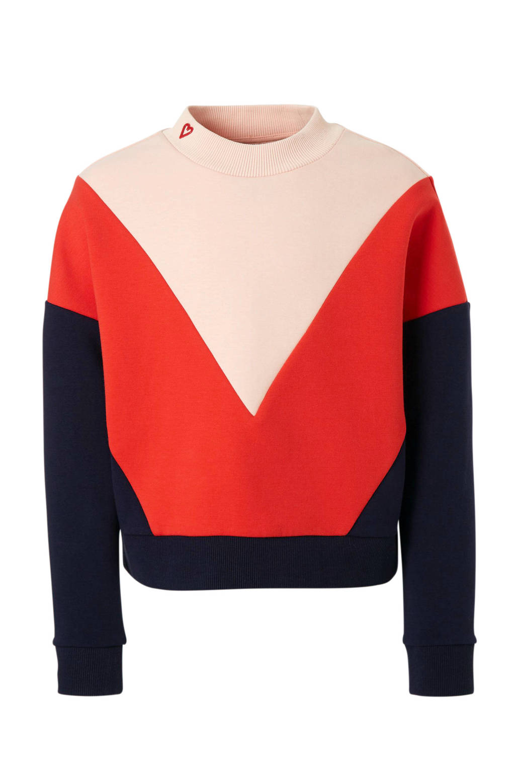 Scotch & Soda colorblock sweater rood, Rood/donkerblauw/roze