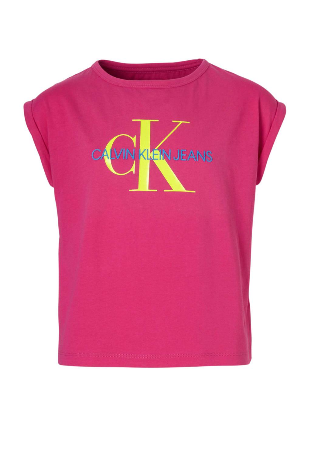 Calvin Klein Jeans T-shirt met logo fuchsia, Fuchsia