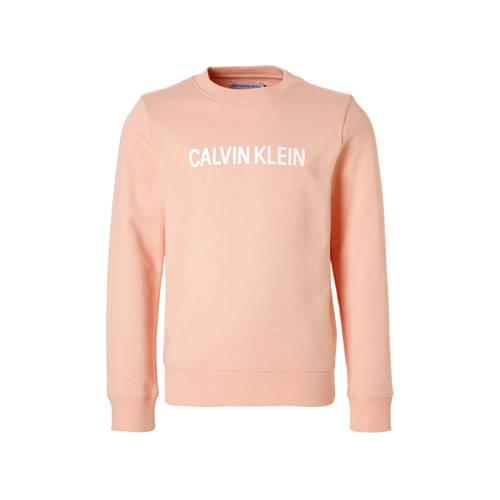 Calvin Klein Jeans sweater met logo zalmroze kopen
