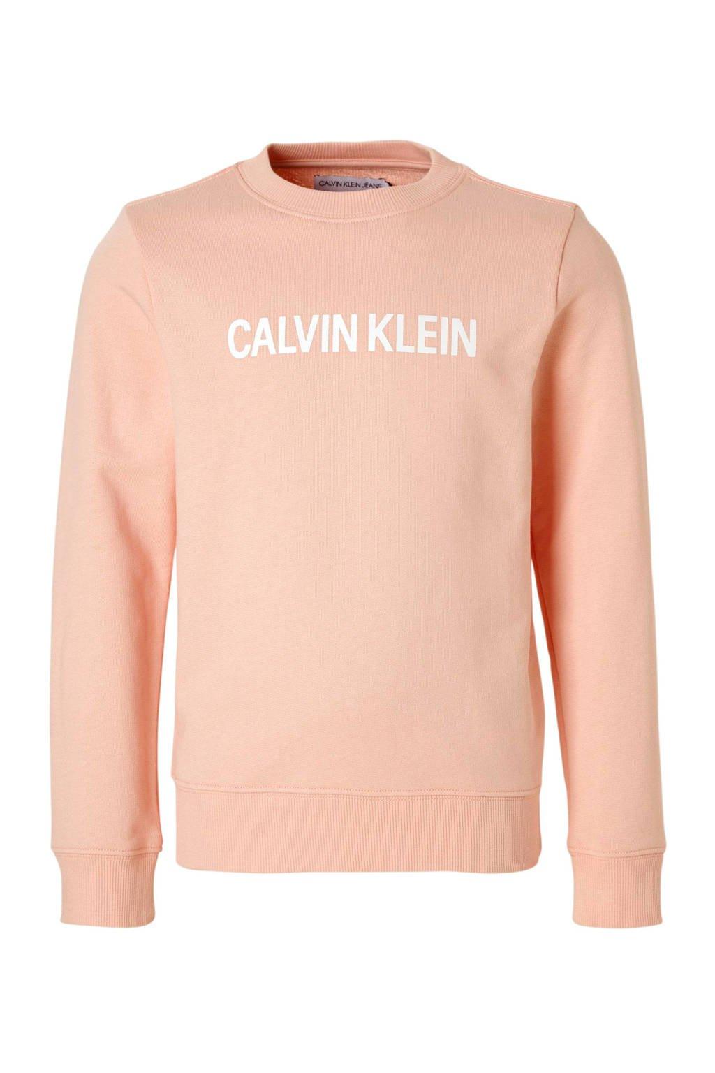 Calvin Klein Jeans sweater met logo zalmroze, Zalmroze
