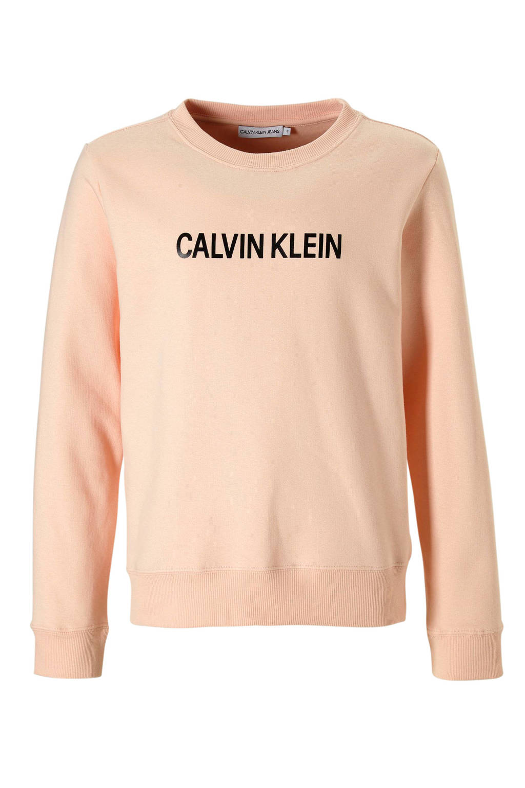 Calvin Klein Jeans sweater met logo roze, Lichtroze/zwart