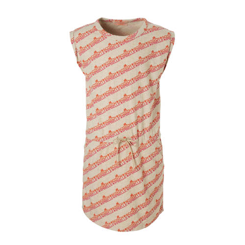 Scotch & Soda jurk met allover tekstprint ecru/oranje kopen