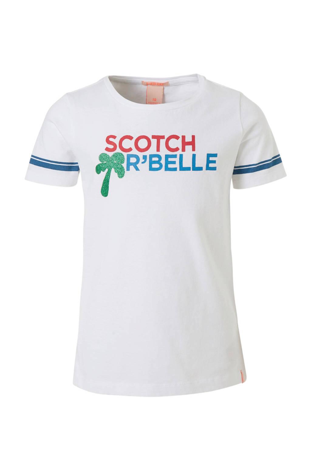 Scotch & Soda T-shirt met logoprint wit, Wit