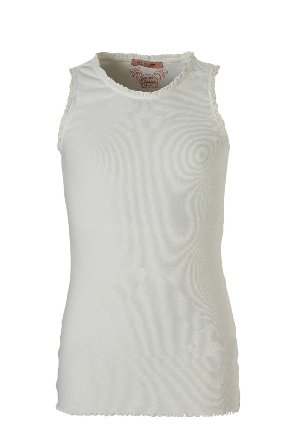 Scotch & Soda mouwloos T-shirt met ruches offwhite, Offwhite