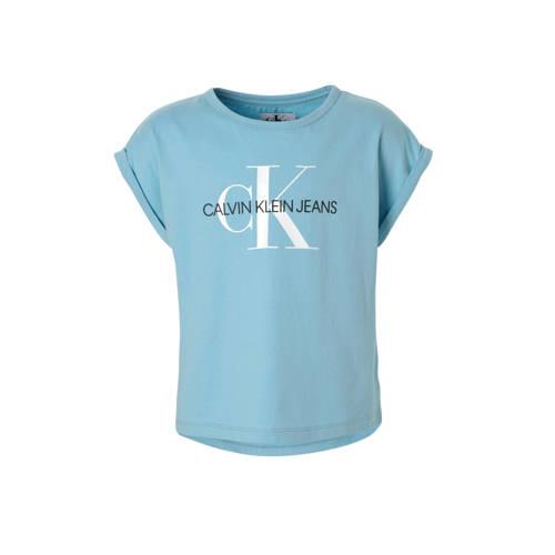 Calvin Klein Jeans T-shirt met logo lichtblauw kopen