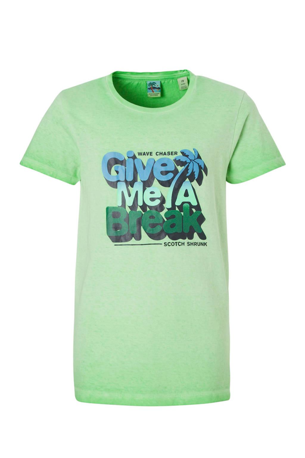 Scotch & Soda T-shirt met print groen, Groen