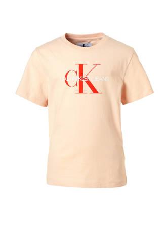 T-shirt met logo zalmroze