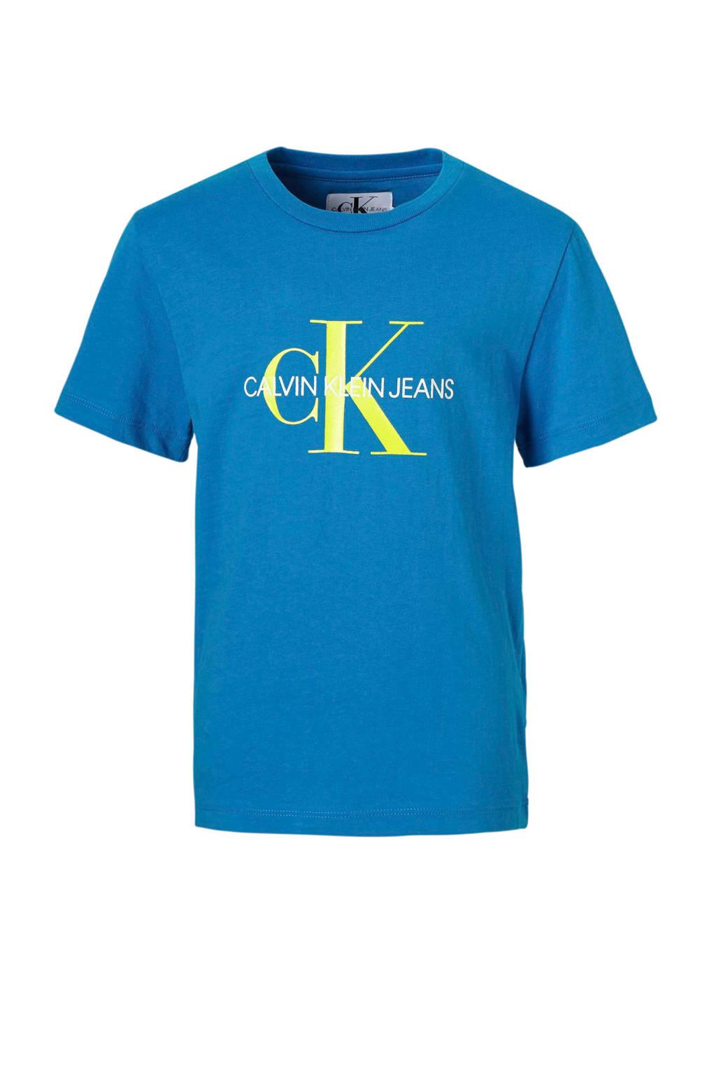 Calvin Klein Jeans T-shirt met logo blauw, Blauw