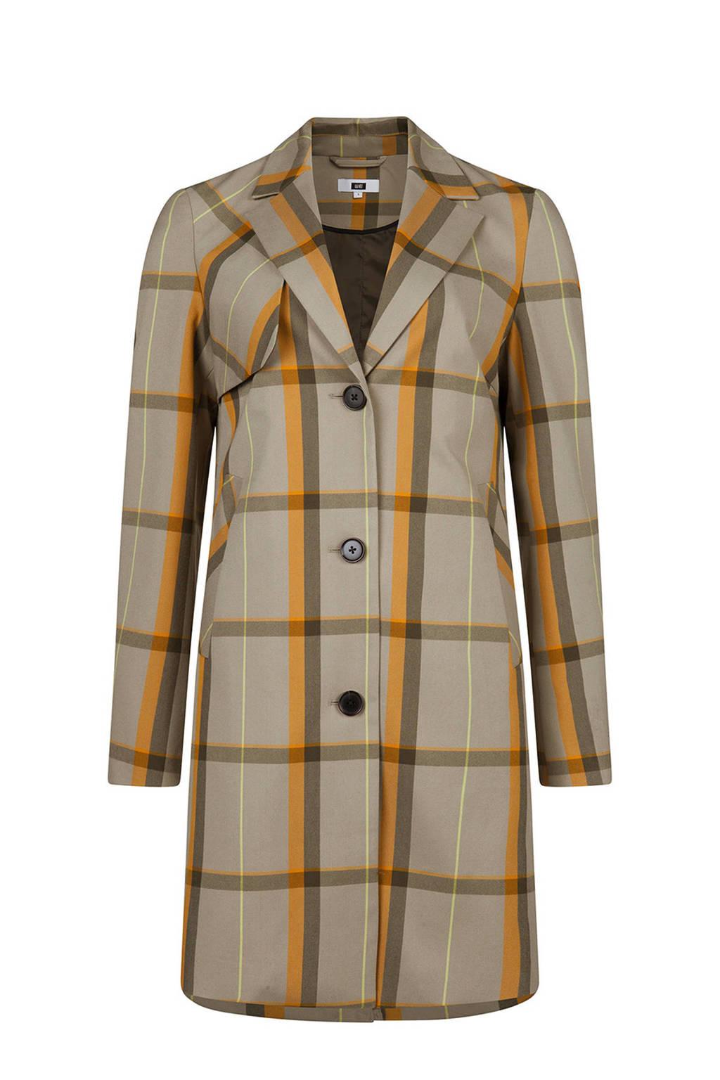 WE Fashion geruite jas beige, Groenbeige