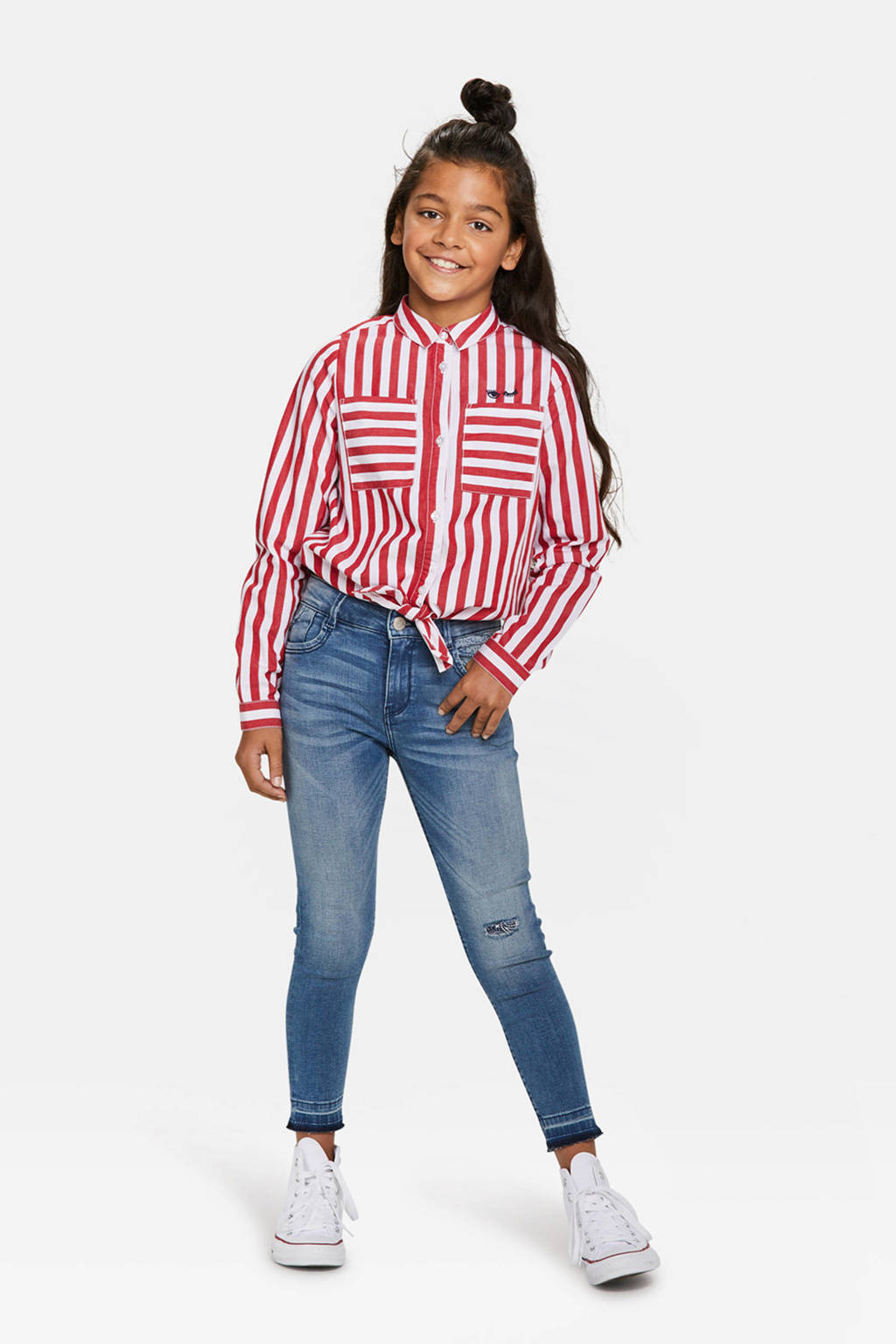 WE Fashion gestreepte blouse rood, Rood/wit