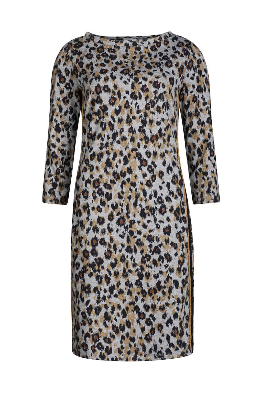WE Fashion jurk met panterprint grijs, Grijs/zwart