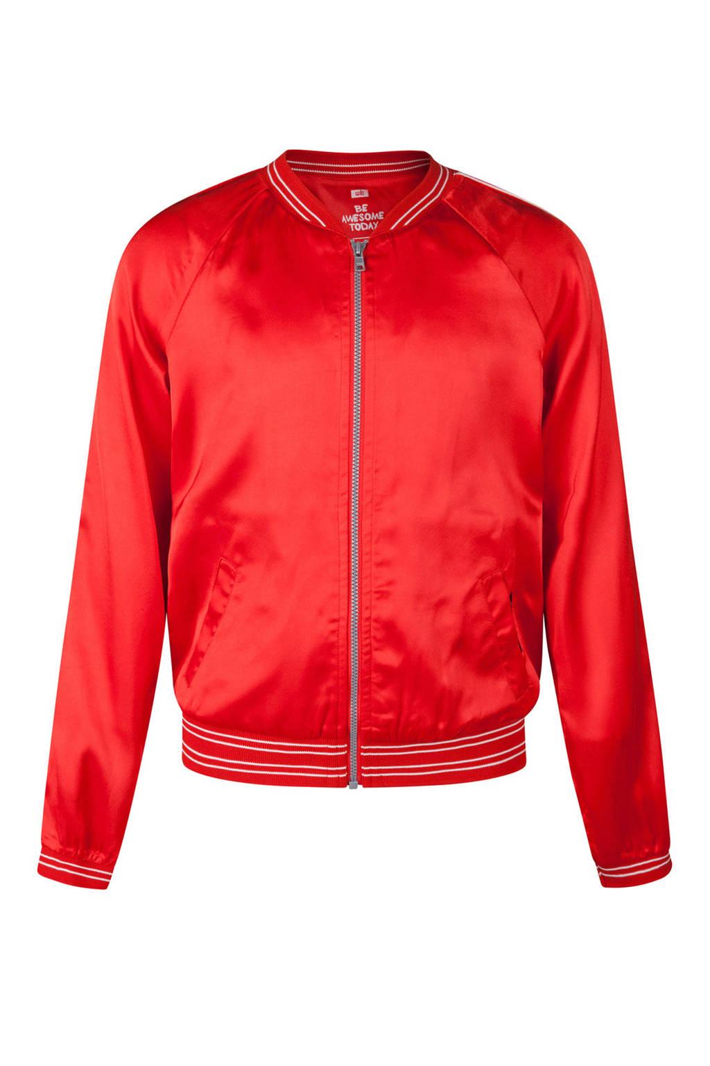 WE Fashion bomberjack met tekst rood, Rood
