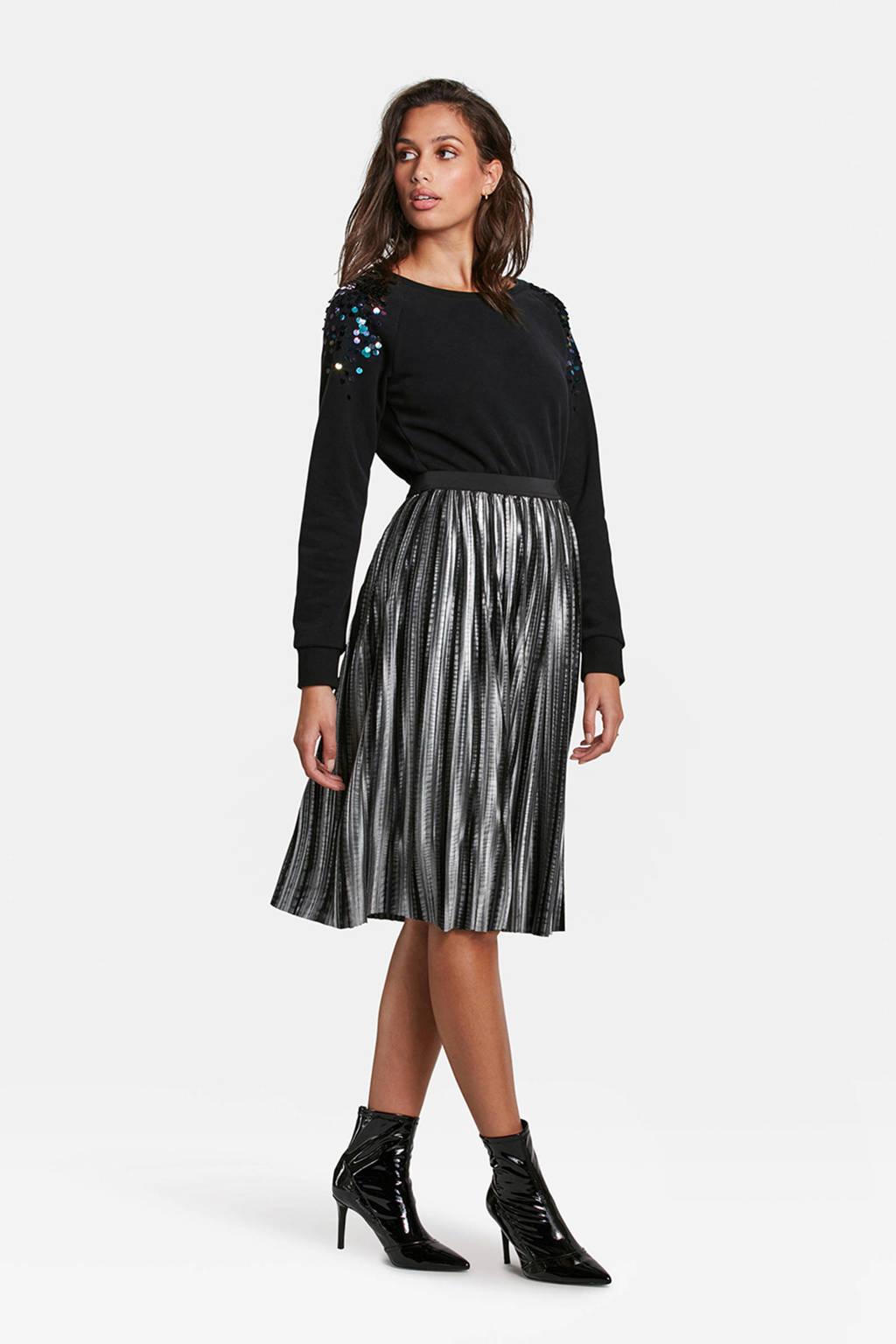 WE Fashion sweater met pailletten zwart, Zwart