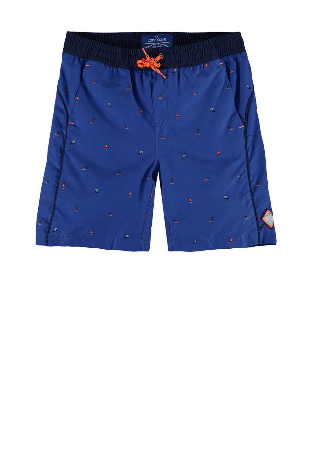 WE Fashion zwemshort met print blauw, Kobalt