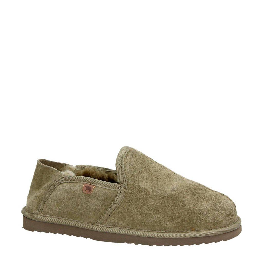 Warmbat Australia suède pantoffels kaki, Kaki