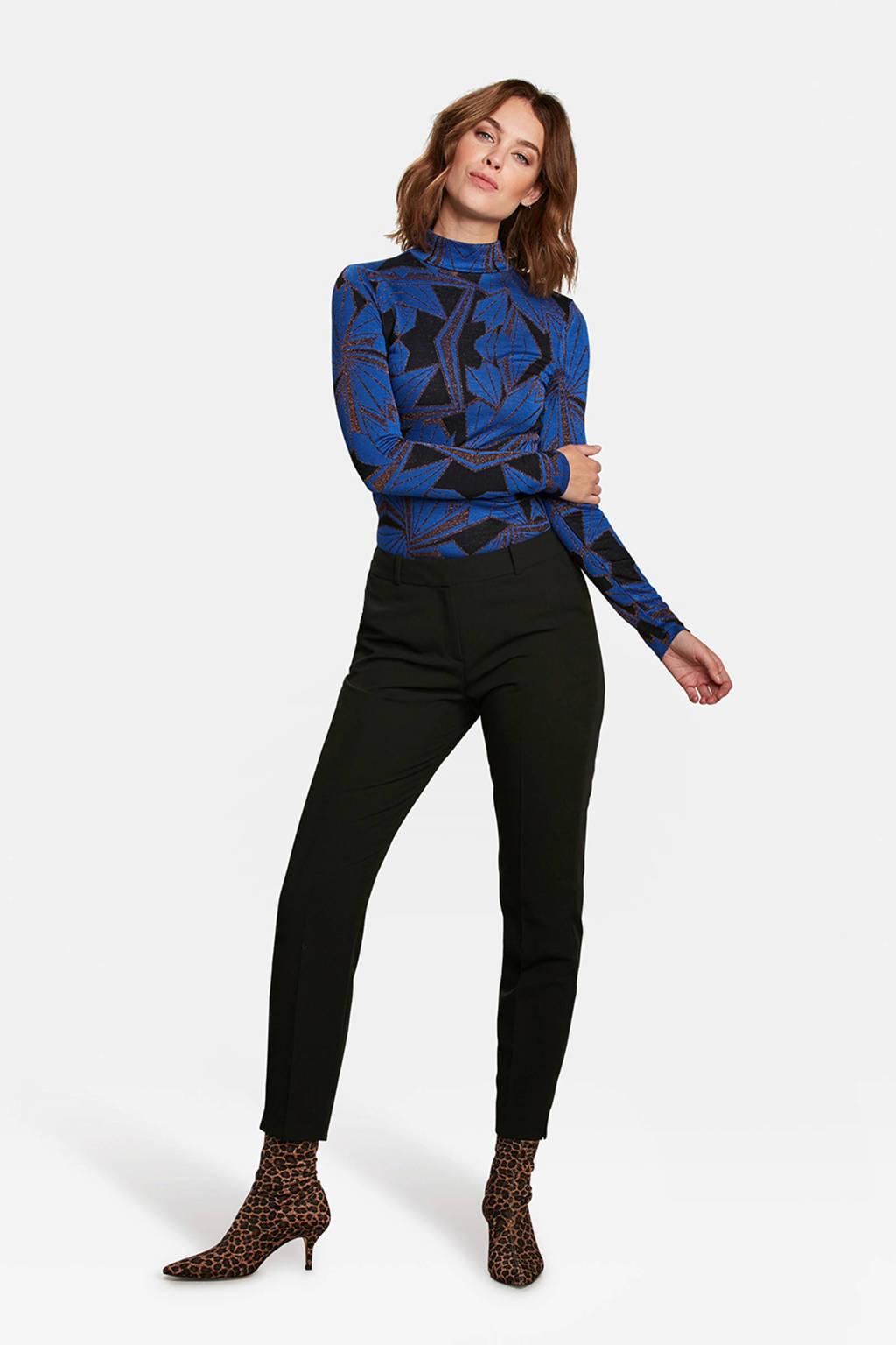 WE Fashion top met col blauw, Multicolor