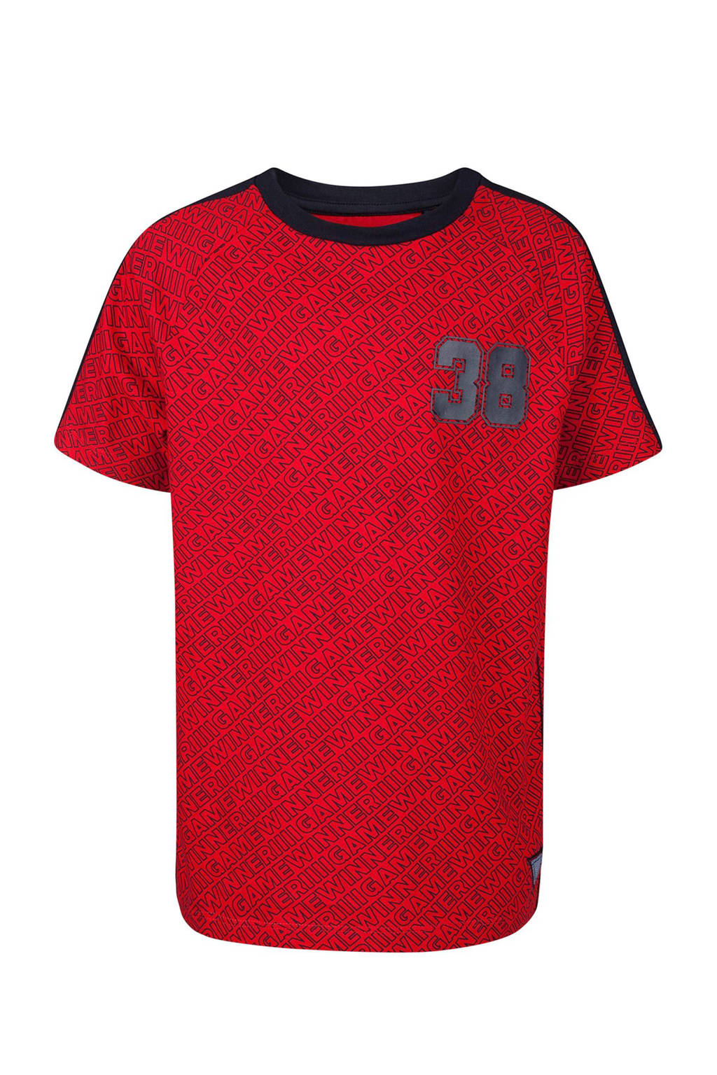 WE Fashion T-shirt met all over print rood, Rood