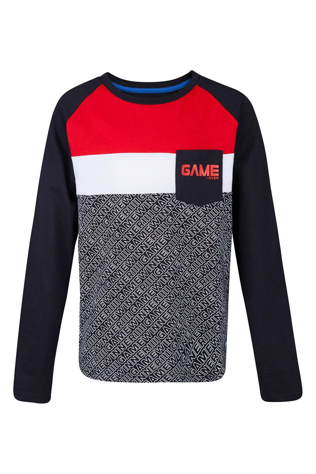 WE Fashion longsleeve met tekst blauw, Donkerblauw/rood/wit