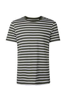 WE Fashion gestreept T-shirt donkergroen