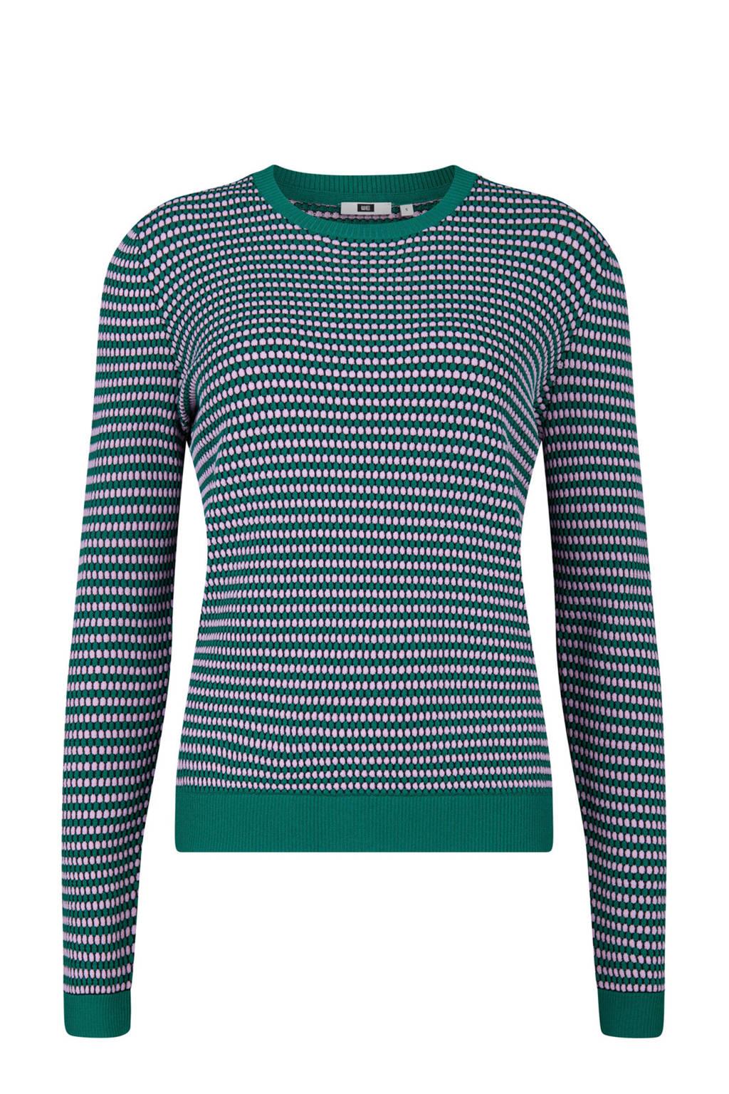 WE Fashion trui met strepen, Groen/blauw