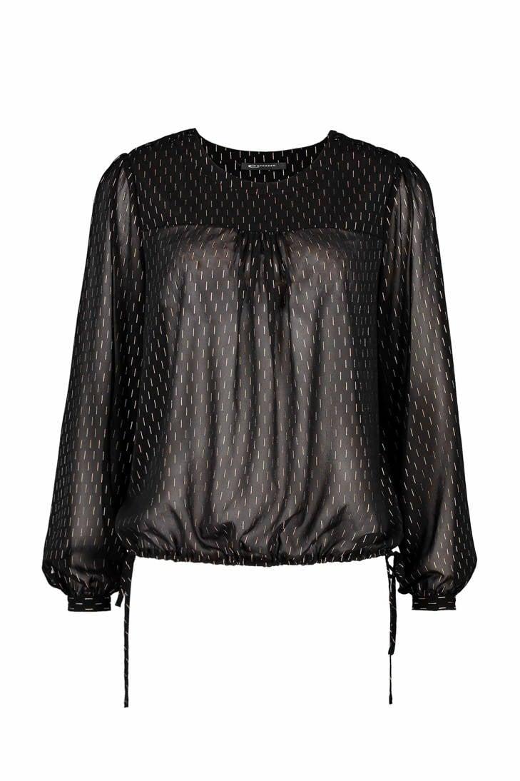 zwart blouse met streepdessin Norike Expresso qfx1Svnzq
