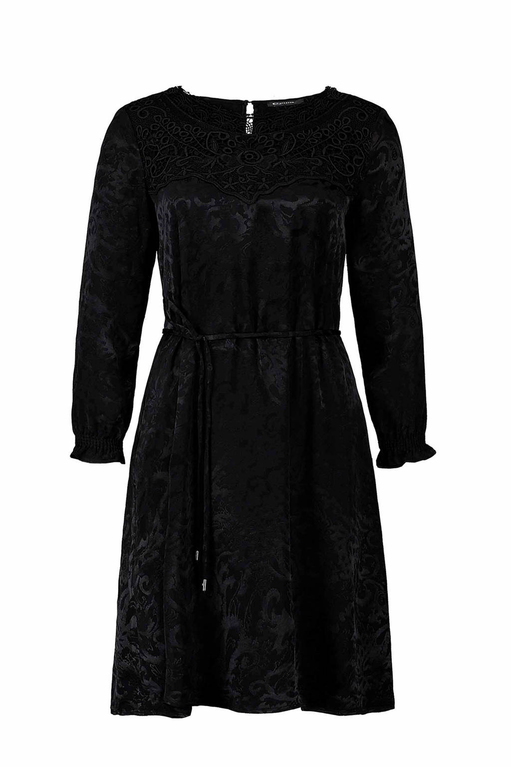 f1ceec4ff8d Expresso jacquard jurk met kant zwart | wehkamp