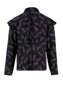 CKS KIDS blouse met panterprint zwart (meisjes)