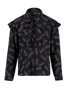 blouse met panterprint zwart