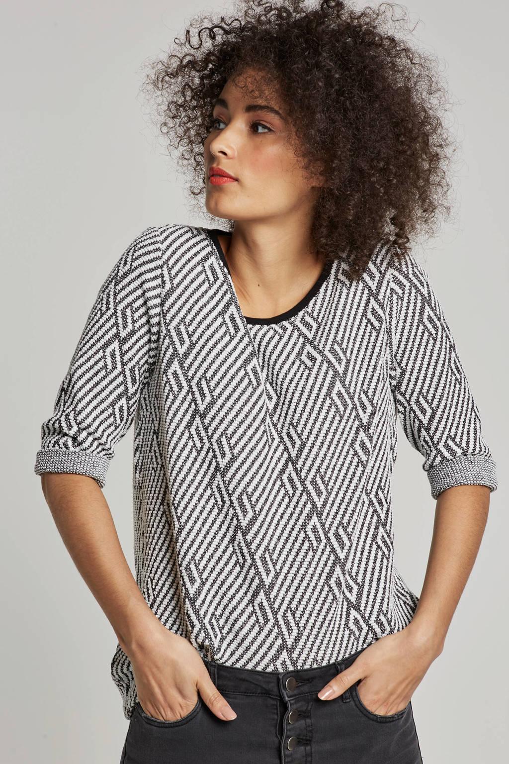 ONLY grafische top, Wit/zwart