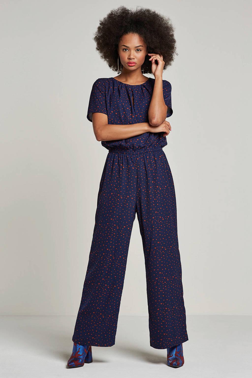 SELECTED FEMME jumpsuit met hartjes print, Donkerblauw/bruin