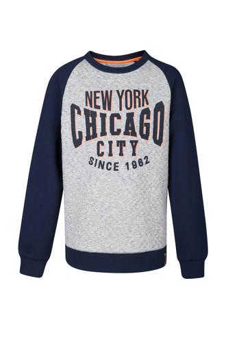 sweater met tekst grijs/blauw